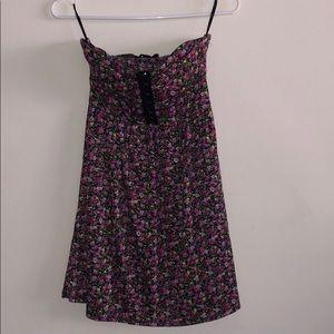 Navy w/Pink Floral Print Dress